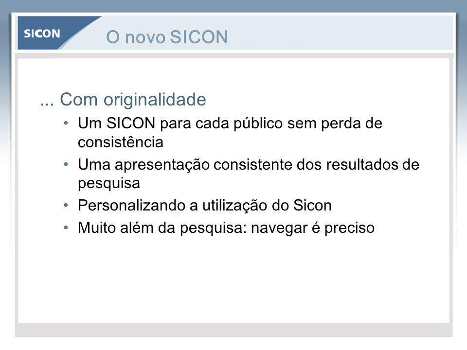 O novo SICON... Com originalidade Um SICON para cada público sem perda de consistência Uma apresentação consistente dos resultados de pesquisa Persona