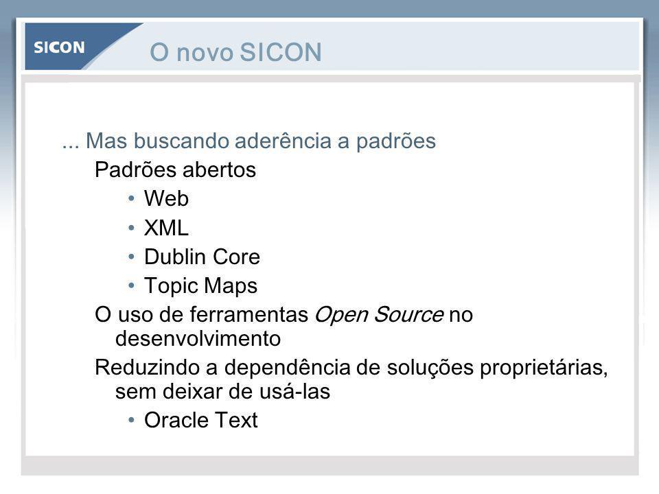 O novo SICON... Mas buscando aderência a padrões Padrões abertos Web XML Dublin Core Topic Maps O uso de ferramentas Open Source no desenvolvimento Re