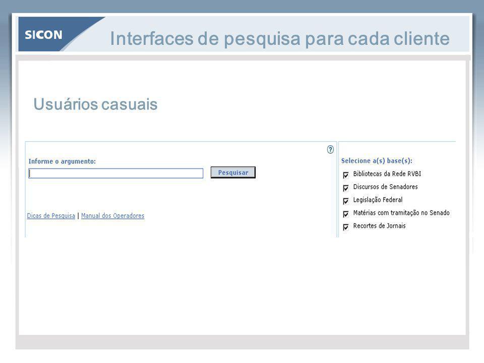 Interfaces de pesquisa para cada cliente Usuários casuais
