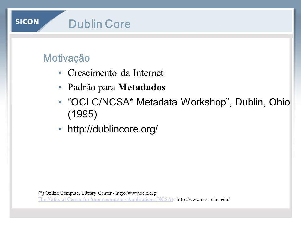"""Dublin Core Motivação Crescimento da Internet Padrão para Metadados """"OCLC/NCSA* Metadata Workshop"""", Dublin, Ohio (1995) http://dublincore.org/ (*) Onl"""