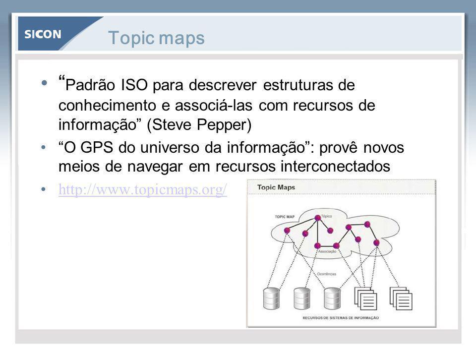 """Topic maps """" Padrão ISO para descrever estruturas de conhecimento e associá-las com recursos de informação"""" (Steve Pepper) """"O GPS do universo da infor"""