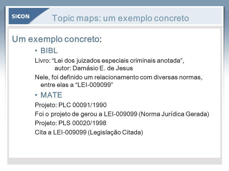 """Topic maps: um exemplo concreto Um exemplo concreto: BIBL Livro: """"Lei dos juizados especiais criminais anotada"""", autor: Damásio E. de Jesus Nele, foi"""