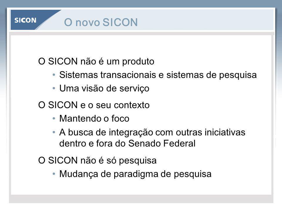 O novo SICON O SICON não é um produto Sistemas transacionais e sistemas de pesquisa Uma visão de serviço O SICON e o seu contexto Mantendo o foco A bu