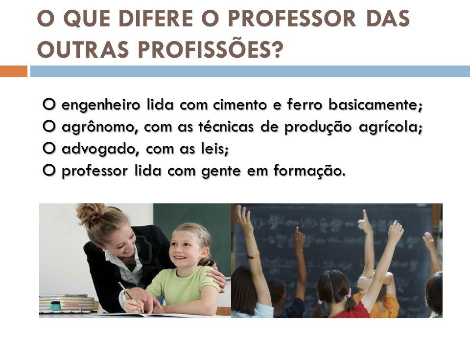 O QUE DIFERE O PROFESSOR DAS OUTRAS PROFISSÕES.