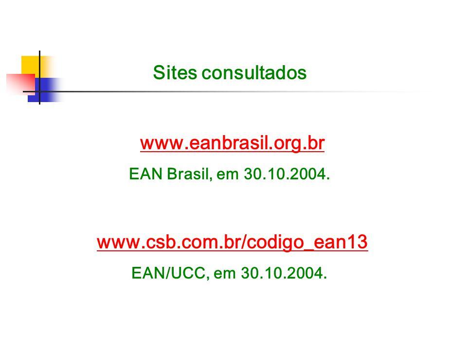Sites consultados www.eanbrasil.org.br EAN Brasil, em 30.10.2004. www.csb.com.br/codigo_ean13 EAN/UCC, em 30.10.2004.