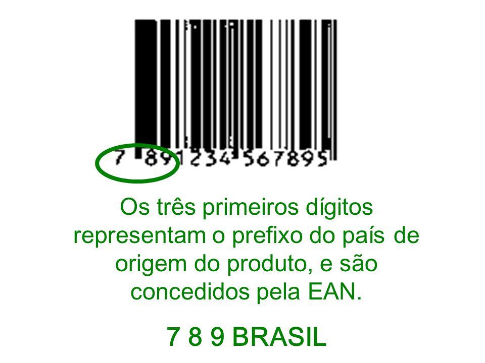 Os três primeiros dígitos representam o prefixo do país de origem do produto, e são concedidos pela EAN. 7 8 9 BRASIL