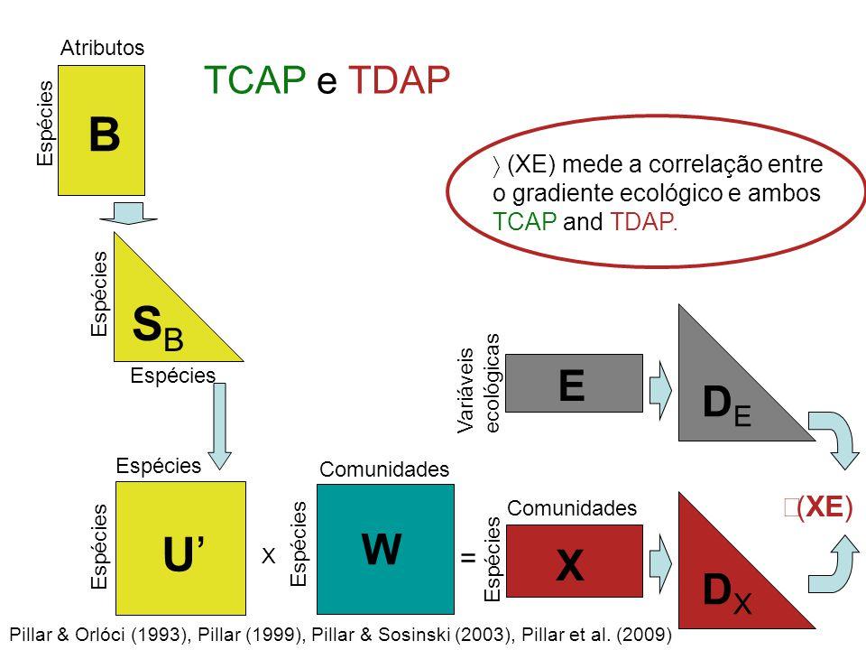 Espécies B Atributos SBSB Espécies U'U' Comunidades W X = Espécies Comunidades Variáveis ecológicas E X Espécies DXDX DEDE  (XE) Pillar & Orlóci (1993), Pillar (1999), Pillar & Sosinski (2003), Pillar et al.