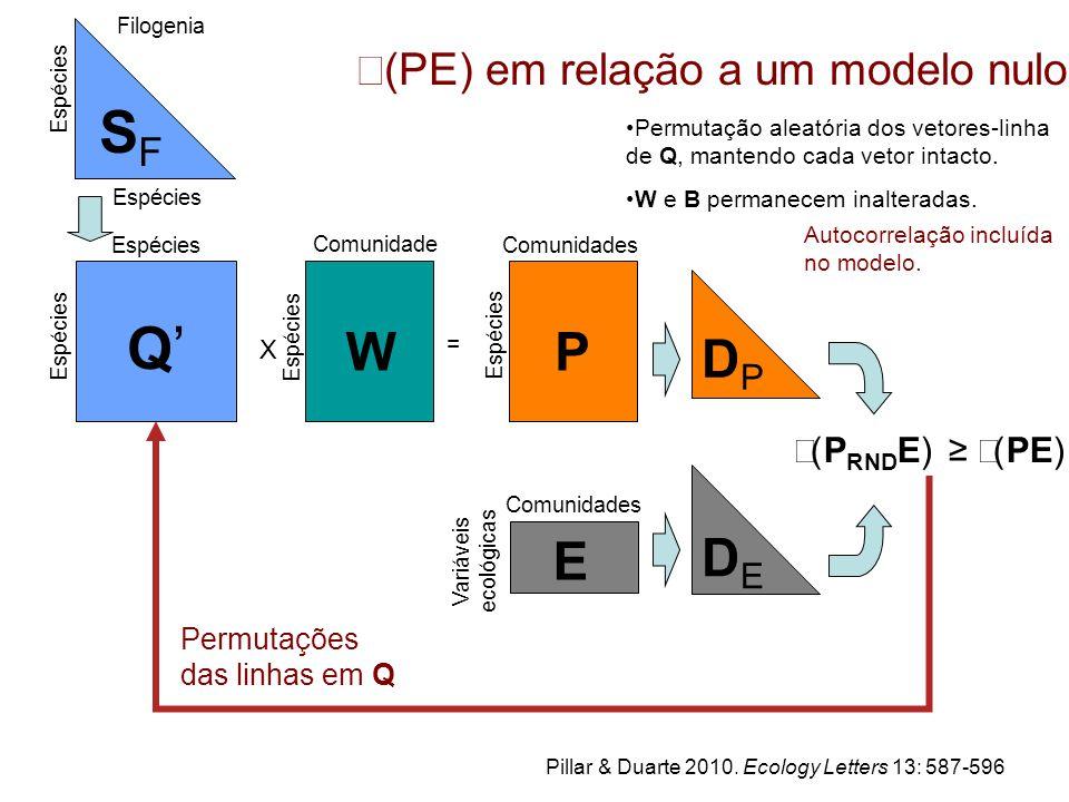 SFSF Comunidade s W X Espécies = Comunidades P DPDP Espécies Q'Q' Filogenia  (P RND E) ≥  (PE) Variáveis ecológicas E Comunidades DEDE  (PE) em relação a um modelo nulo Permutação aleatória dos vetores-linha de Q, mantendo cada vetor intacto.