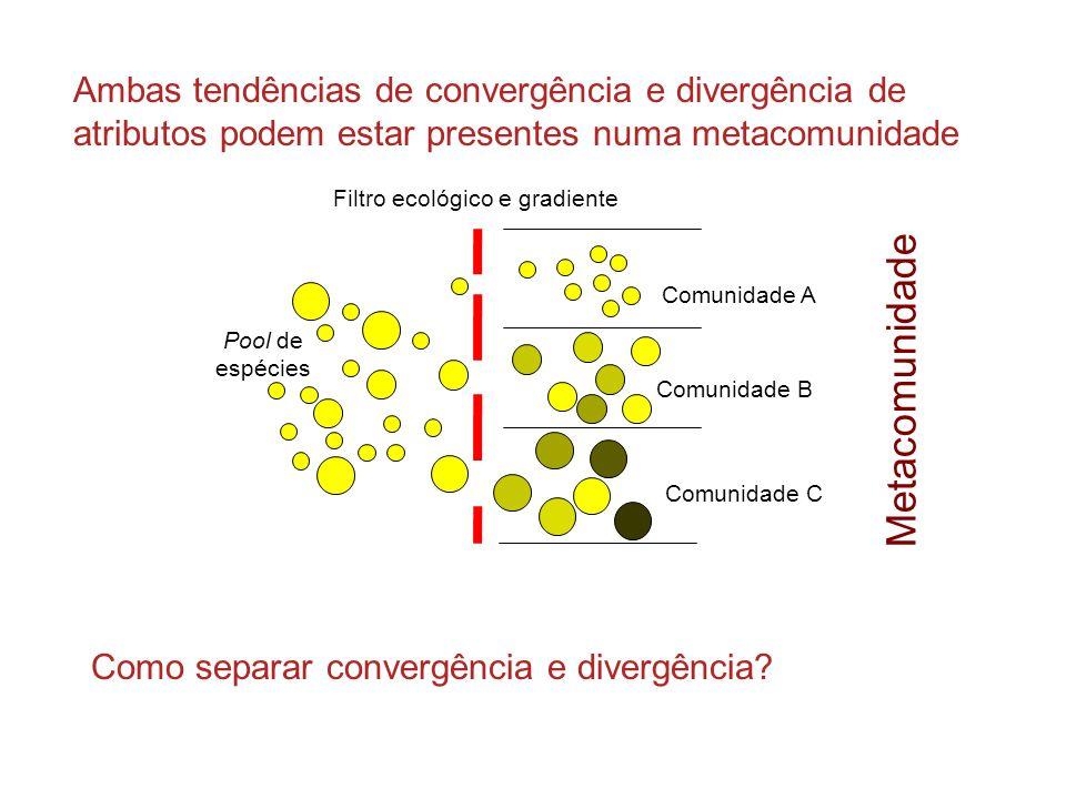 Filtro ecológico e gradiente Comunidade A Pool de espécies Comunidade B Comunidade C Ambas tendências de convergência e divergência de atributos podem estar presentes numa metacomunidade Como separar convergência e divergência.