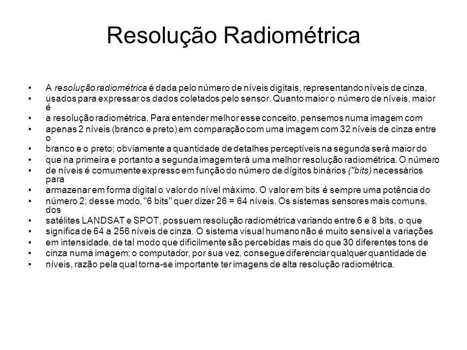 Resolução Radiométrica A resolução radiométrica é dada pelo número de níveis digitais, representando níveis de cinza, usados para expressar os dados c