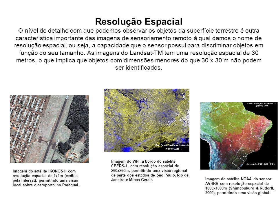 Resolução Espacial O nível de detalhe com que podemos observar os objetos da superfície terrestre é outra característica importante das imagens de sen