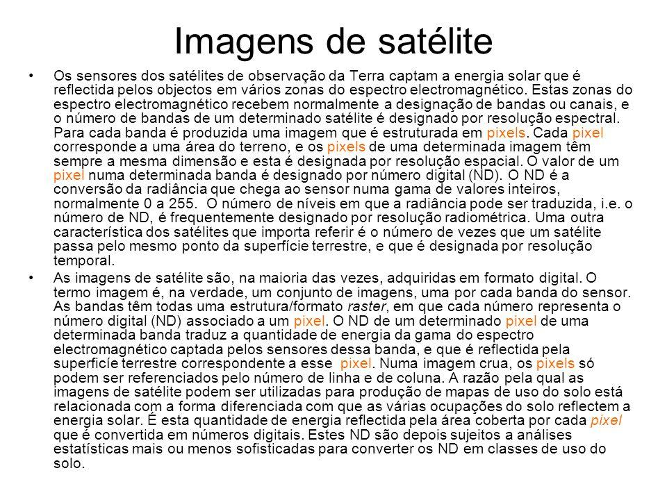 Imagens de satélite Os sensores dos satélites de observação da Terra captam a energia solar que é reflectida pelos objectos em vários zonas do espectr