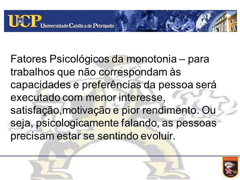 Fatores Psicológicos da monotonia – para trabalhos que não correspondam às capacidades e preferências da pessoa será executado com menor interesse, sa
