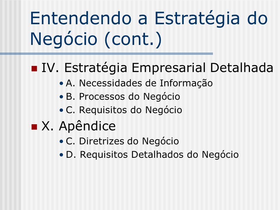 Entendendo a Estratégia do Negócio (cont.) IV. Estratégia Empresarial Detalhada A. Necessidades de Informação B. Processos do Negócio C. Requisitos do