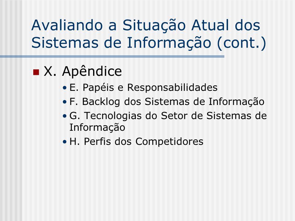 Avaliando a Situação Atual dos Sistemas de Informação (cont.) X. Apêndice E. Papéis e Responsabilidades F. Backlog dos Sistemas de Informação G. Tecno
