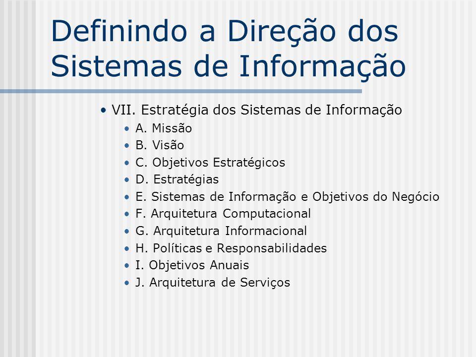 Definindo a Direção dos Sistemas de Informação VII. Estratégia dos Sistemas de Informação A. Missão B. Visão C. Objetivos Estratégicos D. Estratégias