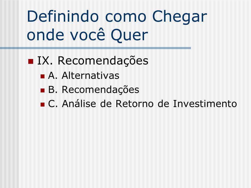 Definindo como Chegar onde você Quer IX. Recomendações A. Alternativas B. Recomendações C. Análise de Retorno de Investimento
