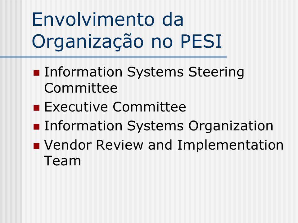 Envolvimento da Organização no PESI Information Systems Steering Committee – ISSC O grupo mais importante: fornece a direção estratégica para os sistemas de informação Formula recomendações referentes a priorização de projetos e recursos Constituído de diretores ou pessoas do nível imediatamente abaixo dos executivos da organização Veículo dos usuários para proposição e recomendação de projetos de sistemas de informação Reuniões periódicas (mensais) CIO agenda, organiza e documenta as reuniões