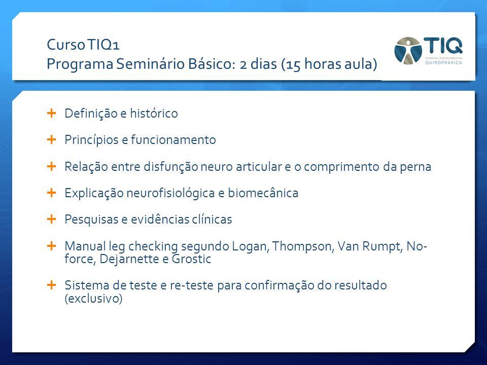 Curso TIQ1 Programa Seminário Básico: 2 dias (15 horas aula)  Definição e histórico  Princípios e funcionamento  Relação entre disfunção neuro arti