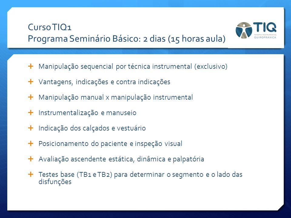 Curso TIQ1 Programa Seminário Básico: 2 dias (15 horas aula)  Manipulação sequencial por técnica instrumental (exclusivo)  Vantagens, indicações e c