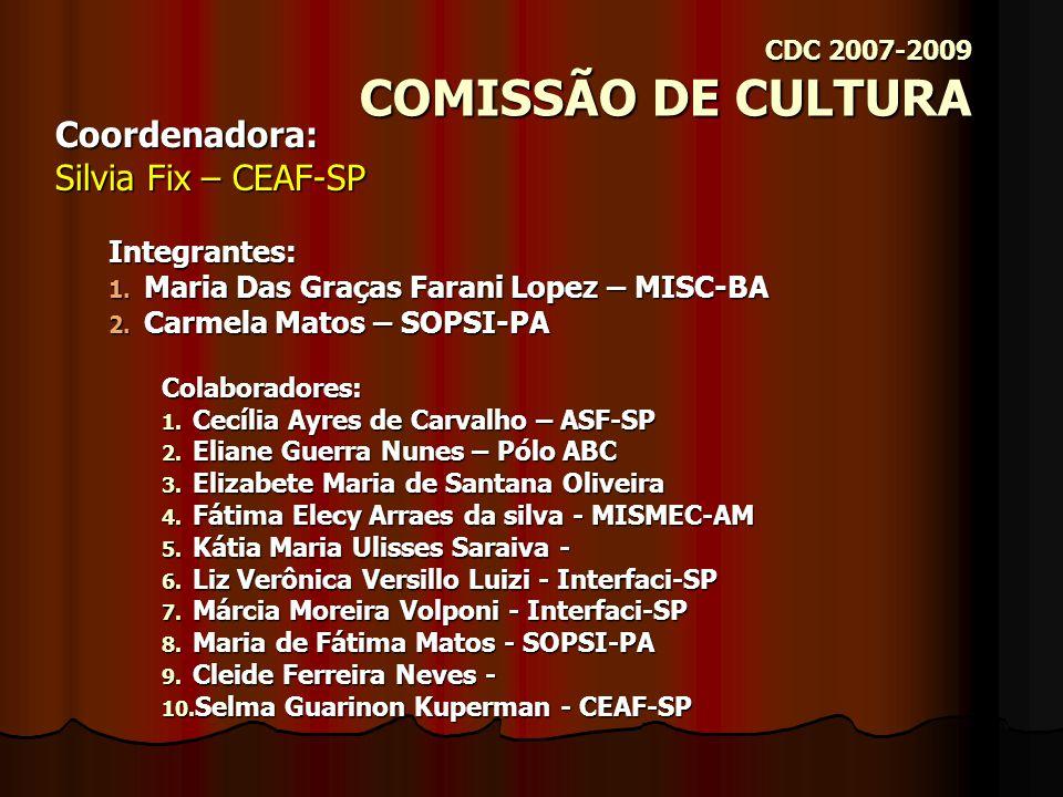 CDC 2007-2009 COMISSÃO DE CONGRESSO Coordenadora: Maria Selma do Nascimento – Uaki Ti Ara-SP Integrantes: 1.