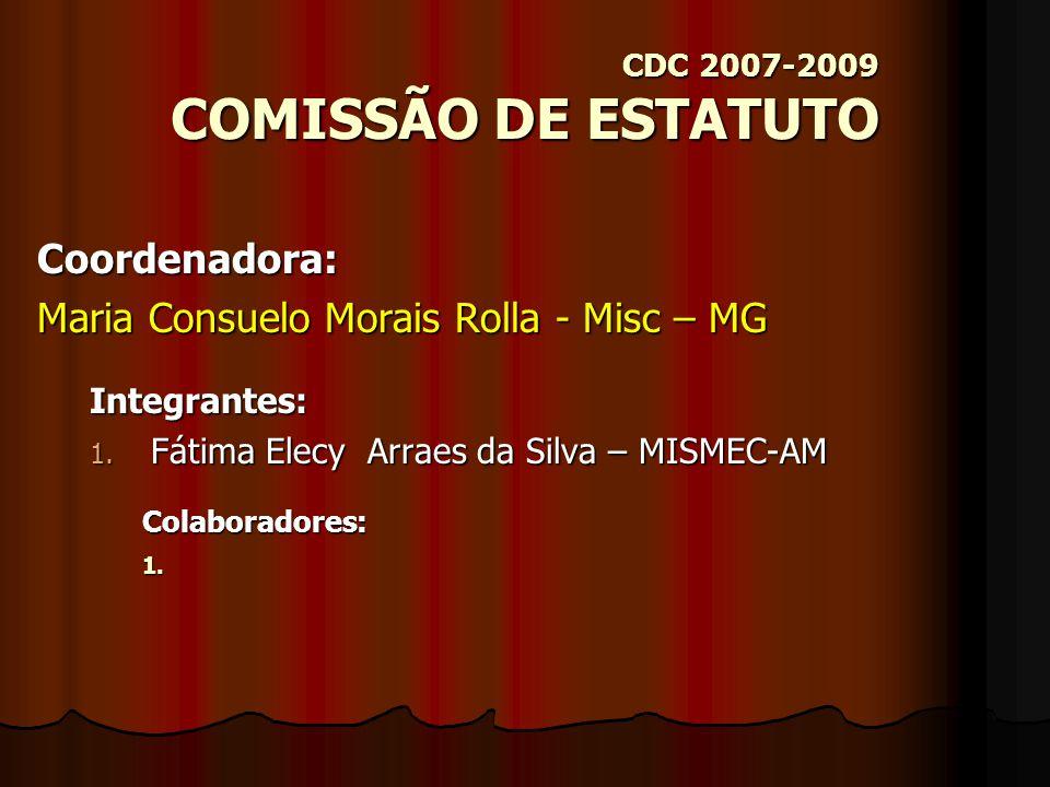 CDC 2007-2009 COMISSÃO DE CULTURA Coordenadora: Silvia Fix – CEAF-SP Integrantes: 1.