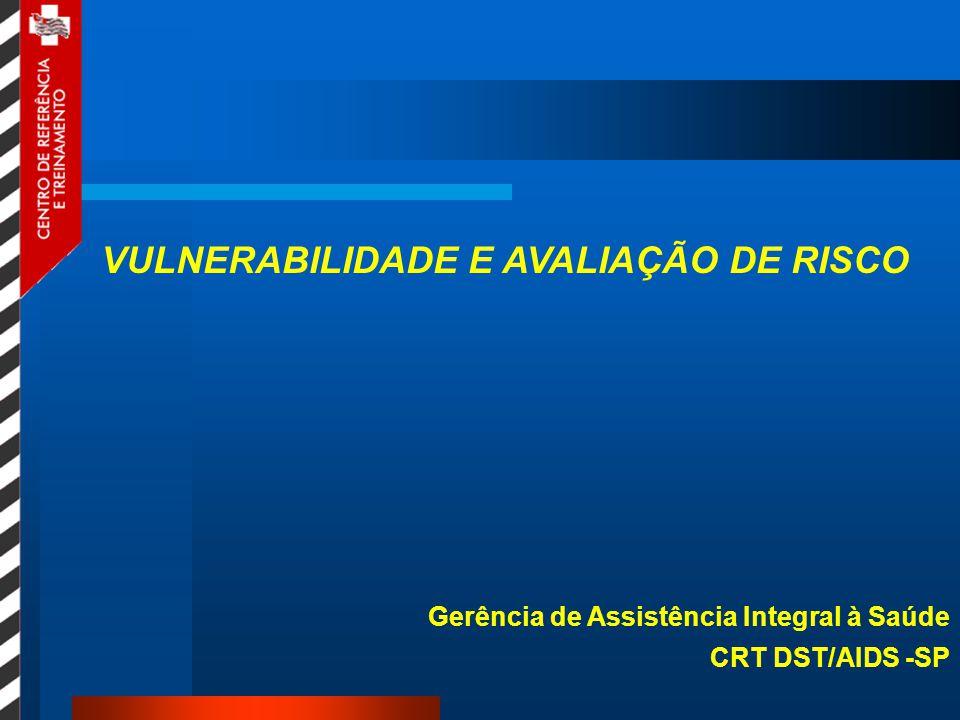 VULNERABILIDADE E AVALIAÇÃO DE RISCO Gerência de Assistência Integral à Saúde CRT DST/AIDS -SP