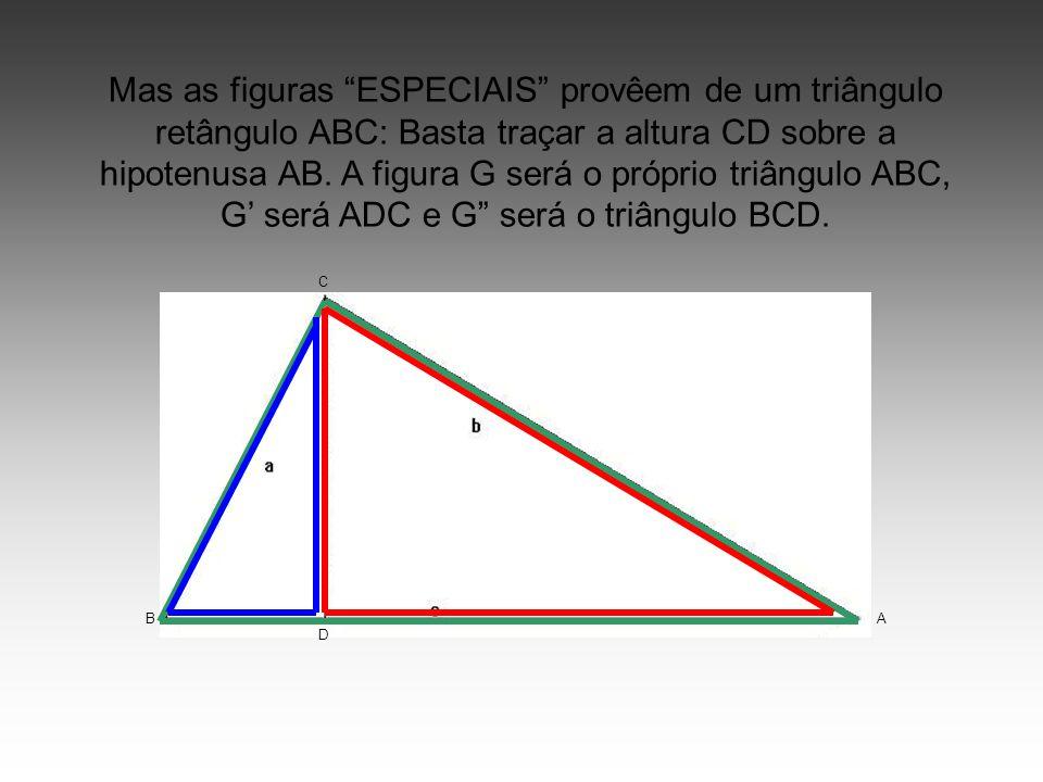 """Mas as figuras """"ESPECIAIS"""" provêem de um triângulo retângulo ABC: Basta traçar a altura CD sobre a hipotenusa AB. A figura G será o próprio triângulo"""