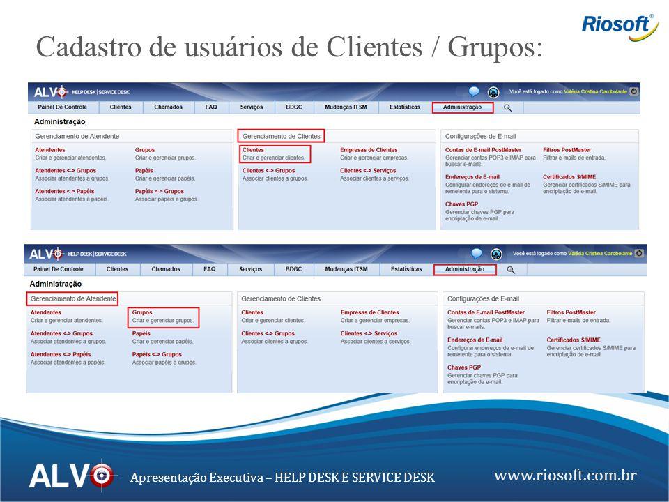 www.riosoft.com.br Apresentação Executiva – HELP DESK E SERVICE DESK Cadastro de usuários de Clientes / Grupos: