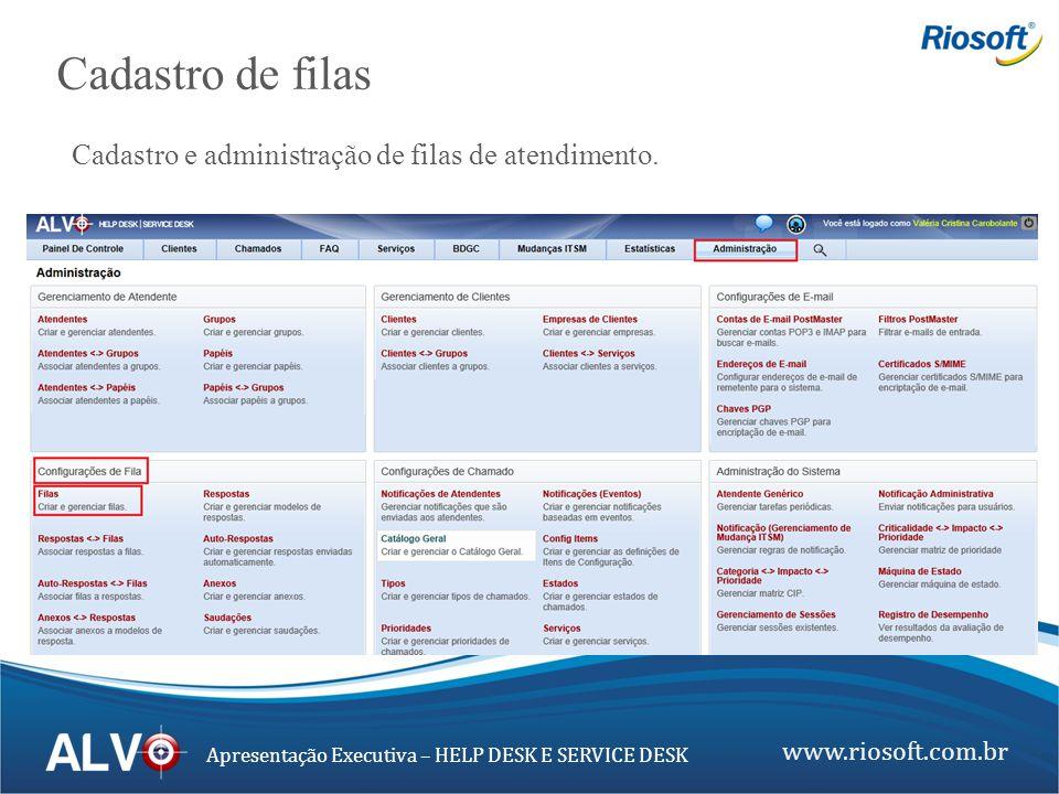 www.riosoft.com.br Apresentação Executiva – HELP DESK E SERVICE DESK Cadastro de filas Cadastro e administração de filas de atendimento.