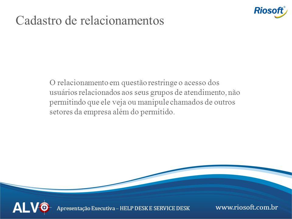 www.riosoft.com.br Apresentação Executiva – HELP DESK E SERVICE DESK Cadastro de relacionamentos O relacionamento em questão restringe o acesso dos us