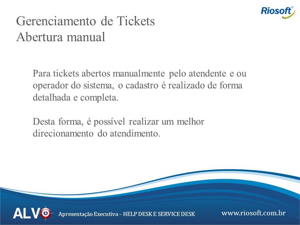 www.riosoft.com.br Apresentação Executiva – HELP DESK E SERVICE DESK Gerenciamento de Tickets Abertura manual Para tickets abertos manualmente pelo at