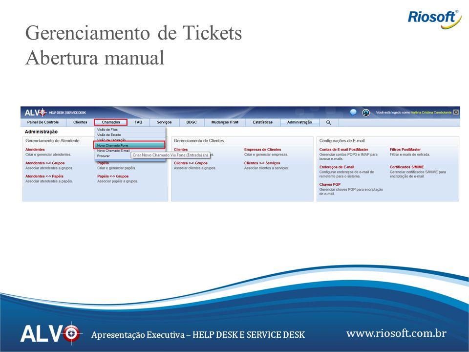www.riosoft.com.br Apresentação Executiva – HELP DESK E SERVICE DESK Gerenciamento de Tickets Abertura manual