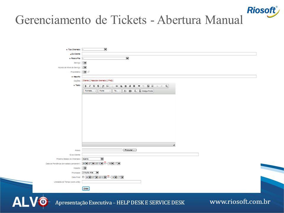 www.riosoft.com.br Apresentação Executiva – HELP DESK E SERVICE DESK Gerenciamento de Tickets - Abertura Manual