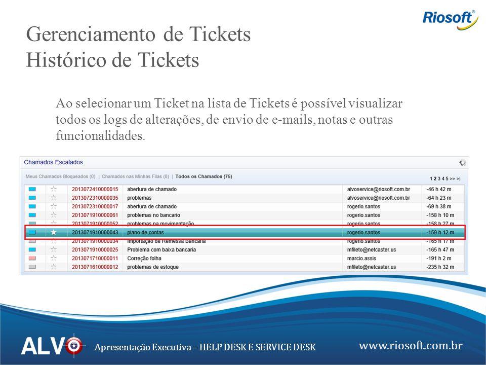 www.riosoft.com.br Apresentação Executiva – HELP DESK E SERVICE DESK Gerenciamento de Tickets Histórico de Tickets Ao selecionar um Ticket na lista de