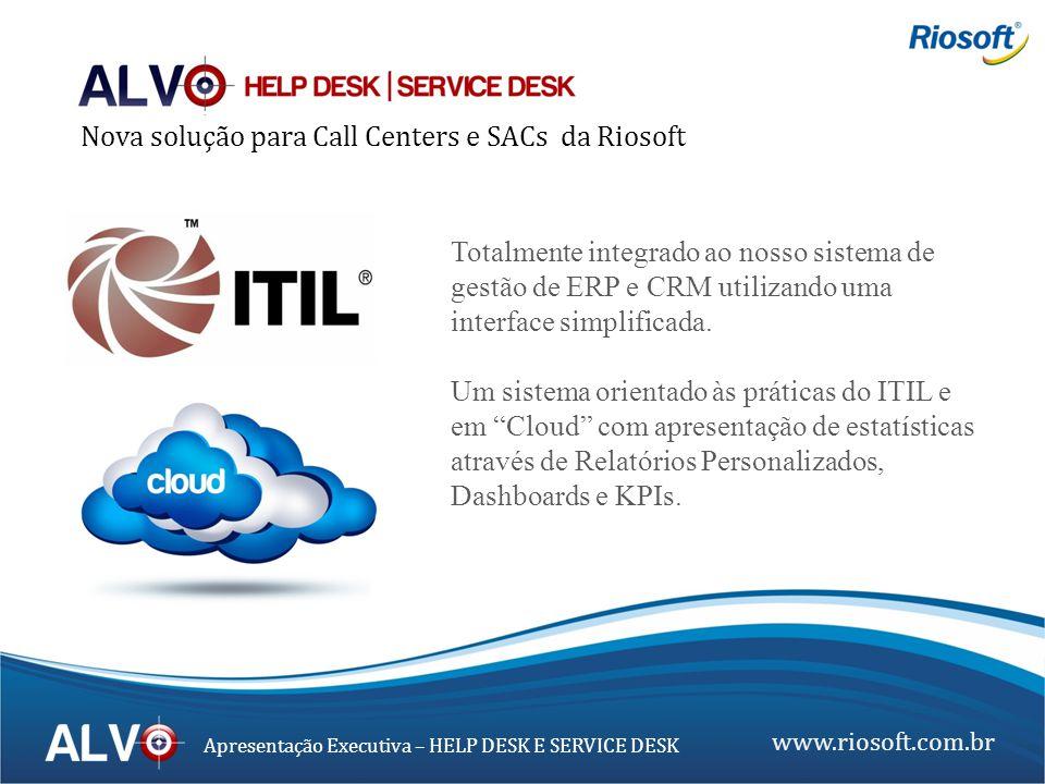 www.riosoft.com.br Apresentação Executiva – HELP DESK E SERVICE DESK Totalmente integrado ao nosso sistema de gestão de ERP e CRM utilizando uma inter