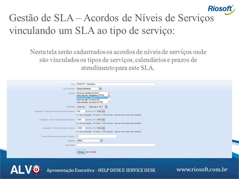 www.riosoft.com.br Apresentação Executiva – HELP DESK E SERVICE DESK Gestão de SLA – Acordos de Níveis de Serviços vinculando um SLA ao tipo de serviç