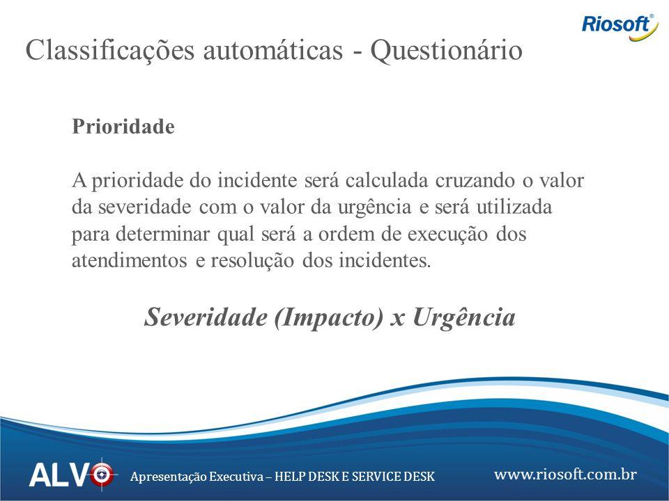 www.riosoft.com.br Apresentação Executiva – HELP DESK E SERVICE DESK Prioridade A prioridade do incidente será calculada cruzando o valor da severidad