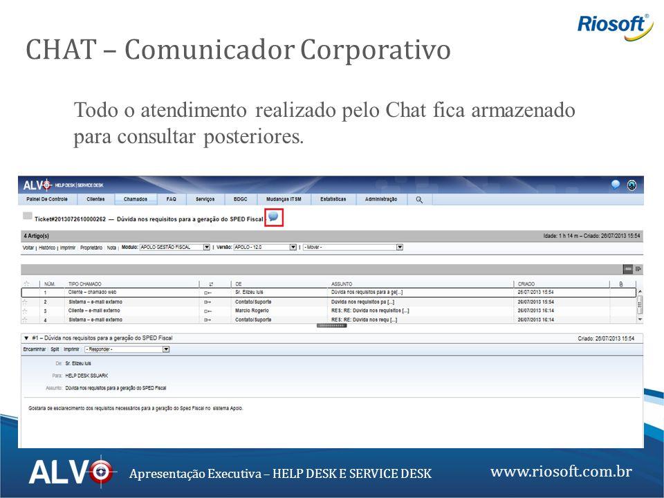 www.riosoft.com.br Apresentação Executiva – HELP DESK E SERVICE DESK CHAT – Comunicador Corporativo Todo o atendimento realizado pelo Chat fica armaze
