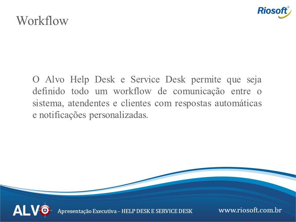 www.riosoft.com.br Apresentação Executiva – HELP DESK E SERVICE DESK O Alvo Help Desk e Service Desk permite que seja definido todo um workflow de com
