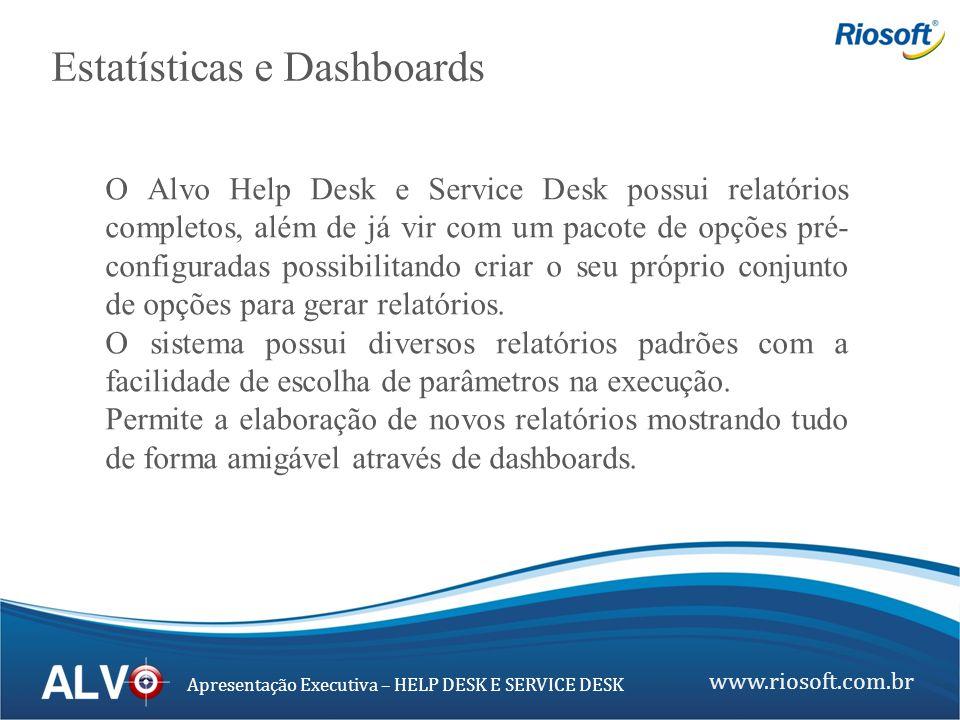 www.riosoft.com.br Apresentação Executiva – HELP DESK E SERVICE DESK O Alvo Help Desk e Service Desk possui relatórios completos, além de já vir com u