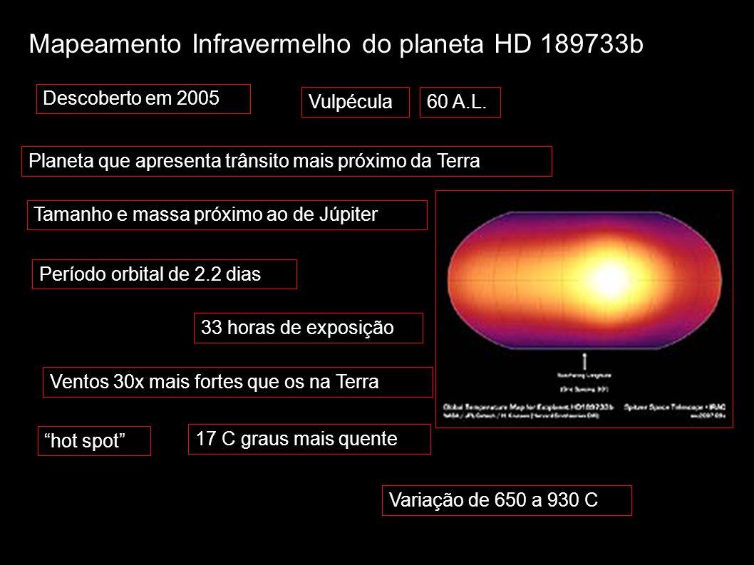"""Mapeamento Infravermelho do planeta HD 189733b 33 horas de exposição Ventos 30x mais fortes que os na Terra """"hot spot"""" 17 C graus mais quente 60 A.L.V"""