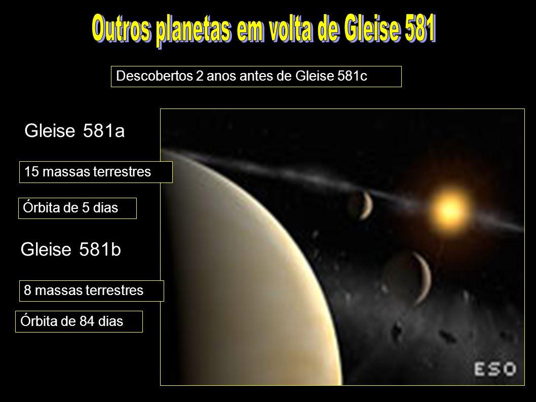 Gleise 581a Gleise 581b Descobertos 2 anos antes de Gleise 581c 15 massas terrestres 8 massas terrestres Órbita de 5 dias Órbita de 84 dias