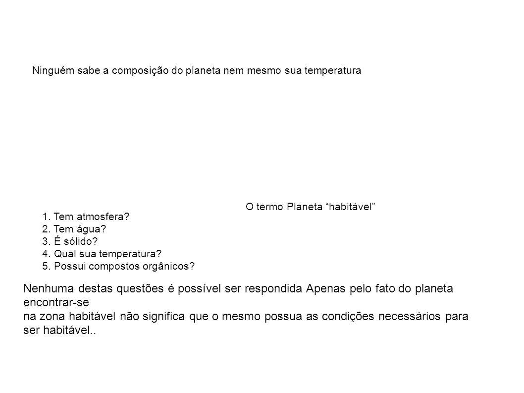 """Ninguém sabe a composição do planeta nem mesmo sua temperatura O termo Planeta """"habitável"""" 1. Tem atmosfera? 2. Tem água? 3. É sólido? 4. Qual sua tem"""