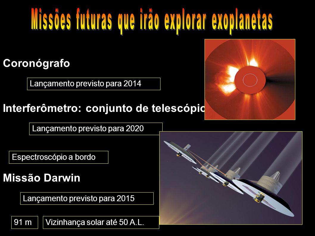 Lançamento previsto para 2020 Coronógrafo Interferômetro: conjunto de telescópios Missão Darwin Lançamento previsto para 2014 Lançamento previsto para