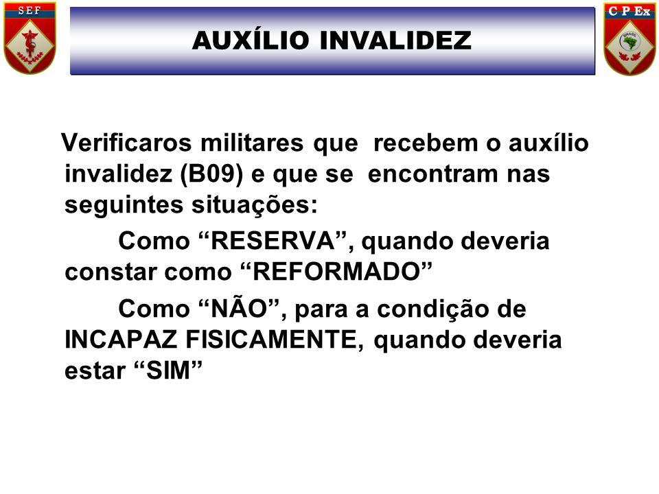 """Verificaros militares que recebem o auxílio invalidez (B09) e que se encontram nas seguintes situações: Como """"RESERVA"""", quando deveria constar como """"R"""