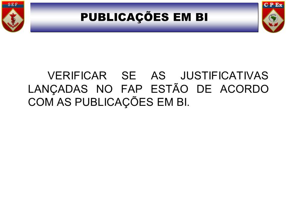 VERIFICAR SE AS JUSTIFICATIVAS LANÇADAS NO FAP ESTÃO DE ACORDO COM AS PUBLICAÇÕES EM BI. PUBLICAÇÕES EM BI