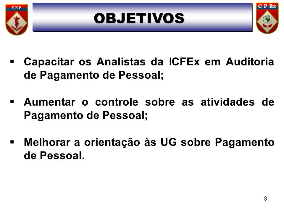  Capacitar os Analistas da ICFEx em Auditoria de Pagamento de Pessoal;  Aumentar o controle sobre as atividades de Pagamento de Pessoal;  Melhorar a orientação às UG sobre Pagamento de Pessoal.