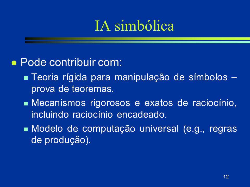 12 IA simbólica l Pode contribuir com: n Teoria rígida para manipulação de símbolos – prova de teoremas. n Mecanismos rigorosos e exatos de raciocínio