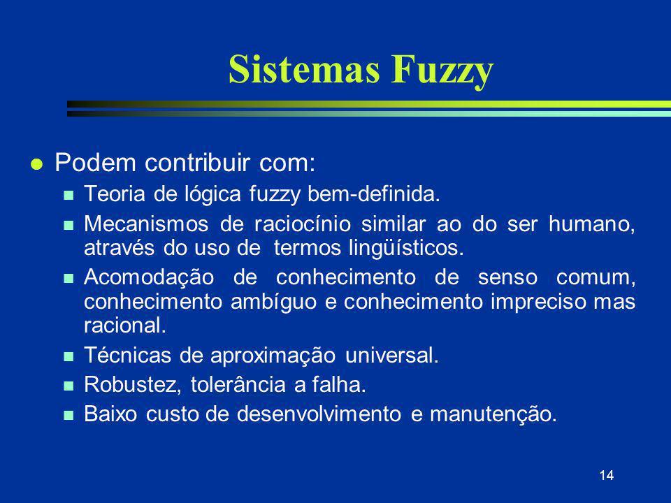 14 Sistemas Fuzzy l Podem contribuir com: n Teoria de lógica fuzzy bem-definida. n Mecanismos de raciocínio similar ao do ser humano, através do uso d